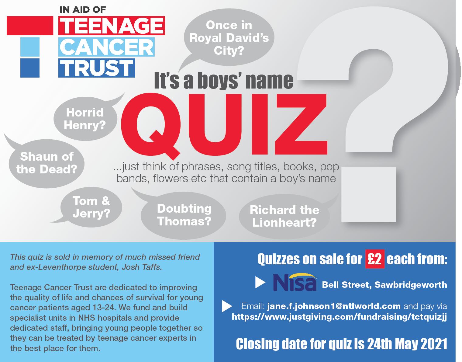Teenage Cancer Trust Quiz